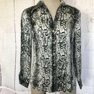 St. John Gray Black Python Print Silk Shirt Blouse